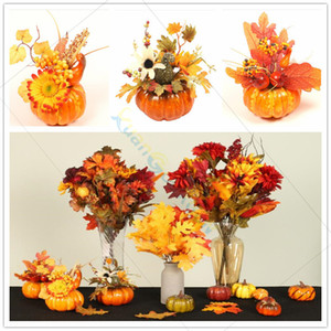 Halloween Festival party DIY Decoration Supplies Simulation Pumpkin Maple Leaf Potted plant Table Setting Props