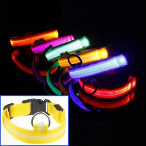 Cuello de perro de nylon LED para mascotas Seguridad nocturna Vibración de luz LED Resplandor en la oscuridad Perro pequeño Mascota Collar de perro de seguridad intermitente Correas S-XL DBC DH0985