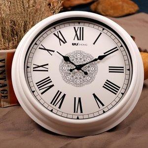 12 polegadas Sala Home Decor Retro numerais romanos a pilhas não Ticking Quarto Relógio de parede interior Rodada Tempo Pointer