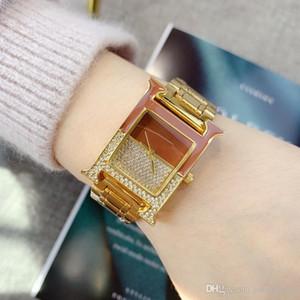 Hochwertige neue Art und Weise Luxus-Dame Uhr Top Berühmte Frauen-Kleid Quarzarmbanduhr Quadrat Zifferblatt Uhren Edelstahl voller Diamanten sehen