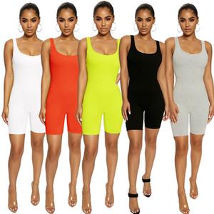 Yaz örme Pamuk kısa tulumlar 2020 Scoop boyun kadınlar Yoga Giyim katı spor Tulum Lady için