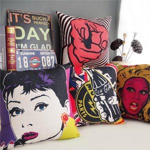 American POP Art Cushion Cover Audrey Hepburn Retro Rock Style Cushion Covers Decorative Linen Cotton Pillow Case For Car Sofa Couch