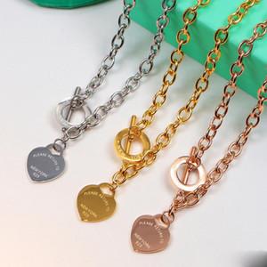 Nunca desaparecer do amor do coração cadeia pingente de colar de prata 925 Rose ouro de ouro amarelo banhado Mulheres Luxury Jewelry Colar com caixa original
