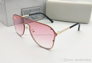 1 قطع جديد 2180 إطار كبير مصمم النظارات الشمسية الإطار المعدني العلامة التجارية المرأة درع نظارات حزمة كاملة
