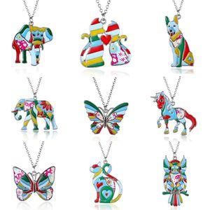Declaração Colar Elefante Gato Borboleta Cão Coruja Cavalo Colar Animal Impressão Acrílica Steampunk Dos Desenhos Animados Colar Memorial Jóias