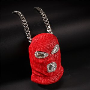 Hip Hop Iced Out Diamond CS Red Mask Horror pelucas colgante collar para hombre mujer joyería venta al por mayor