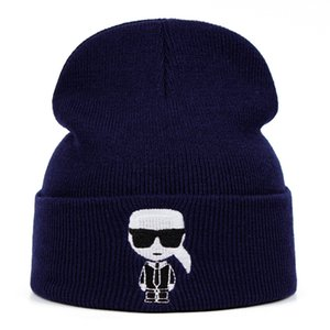 Карл Хоп Дизайнер Skullies Cap Вязаная шапка Вязаная шапка Зимняя шапка Шляпа Твердый аксессуар Костюм Теплые зимние подарки
