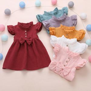 Infantili Baby Girl Kid Fly-manicotto parti superiori attrezzatura di estate i vestiti di cotone principessa Cute Nuove Clothings Sunsuits Sundress