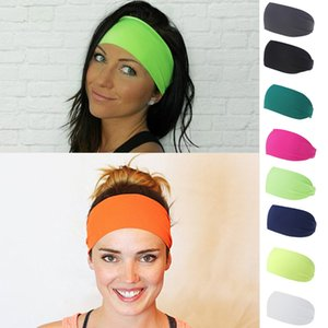 Unisex Fluorescence Color Head Hairband Elastic Yoga Headband Women Men Sport Hair Band Turban Outdoor Gym Sweatband