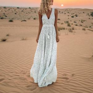 Tupfen-Weiß ärmel Boho Maxi Frauen-Kleid loses Kleid auf den Boden Vintage Strand-Kleid mit V-Ausschnitt Sexy Summer Party Vestido