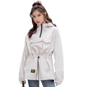 FMFSSOM Mujeres Otoño Nueva informal cazadora Ladys manga larga con capucha de la chaqueta femenina de Calle Delgado chaquetas