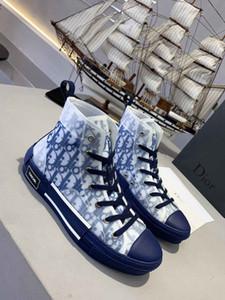 rendas dos homens novos acima sapatas de lona pintar calçados esportivos projeto das mulheres três cores preto e branco azul moda meninos skate sapatos casuais 36-4