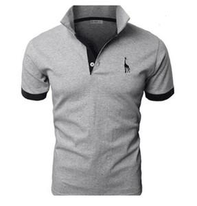shirt homme marque casual de haute qualité cerf broderie chemise manches courtes hommes TJWLKJ