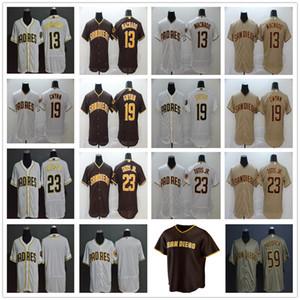 2020 Nouvelle saison de baseball 13 Manny Machado Maillots Cousu 19 Tony Gwynn 23 Fernando Tatis Jr 59 Chris Brown Paddack or blanc Jersey
