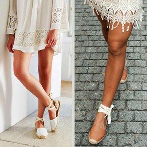 Insta tarzı Espadrilles kadın sandalet 2019 yaz Ayak Bileği kayışı Ayakkabı düz sandalet kadın Lace up Espadrilles