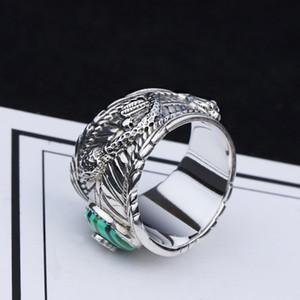 S925 Silber Doppel-Schlange Türkis-Ring-Weinlese-Sterlingsilber-Malachit-Schlange-Ring Männer und Frauen Thai Silber Malachit Tiger-Kopf-Ring