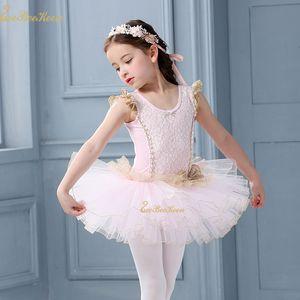 Rosada linda del ballet lago de los cisnes traje de la danza para niñas Ropa de Encaje Tutu Leotardo Ballet vestido de niña de los niños de la bailarina ropa de los niños