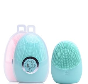 Waterproof Electric Face Scrubbers Soft silicone 7856 two-sided electric cleanser can replace the battery cleanser brush Cleansing Face Skin