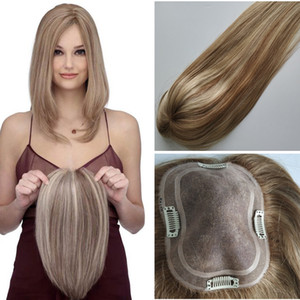 Spedizione gratuita Balayage # 10/60 Colore Base di seta Toppers per capelli umani per le donne clip nella parte superiore parrucchino TOUPEE per capelli diluiti