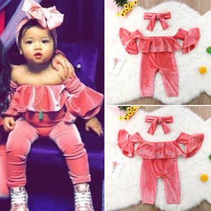 2019 Newborn Kids Baby Girl Velluto increspato Sunsuit Costume Vestiti Toddler Girls Summer Off Spalla Top Pagliaccetto Pantaloni 3 pezzi Abbigliamento