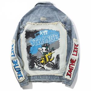 Brasão Outwear Casual padrão criativa dos desenhos animados Casaco de Ganga Homens Buraco afligido Jeans Brasão Hip Hop remendo Jacket Streetwear Moda