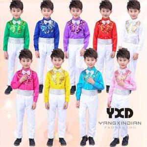 Boys Costume Sequin Shirts + Pants Suit Jazz Perform Costumes Boy Professional Stage Dance Outfit Set Kids Street Show DanceWear