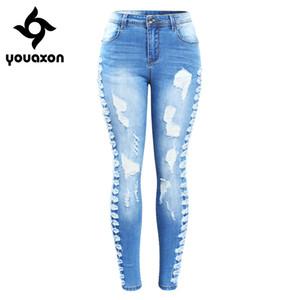 2145 Youaxon New Arrived Plus Size Stretchy Zerrissene Jeans Frau Seite Distressed Denim Dünne Bleistifthosen Hosen Für Frauen J190425