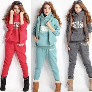 Women Lady Casual Sports Hoodies Coat+Vest+Pants 3pcs Sweat Suit Tracksuit