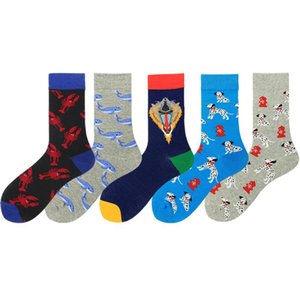 Novelty Pented Cotton Men Socks Funny Cartoon Animals Dog Lobster Lion Autumn Winter Socks Harajuku Calcetines Hombre