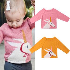 Emmababy recién nacidos para niños de los bebés de lana unicornio Imprimir Pullover Tops suéter ropa de la camiseta