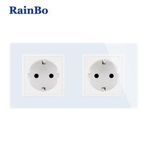 RainBo EU Power-Wall Socket-Standard Power-оправа стекло-панель стены AC-Power Smart-розетка A28E8EW / B T200605