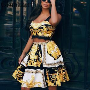 Glamaker imprimé cachemire vintage femmes noires robe sexy costume deux pièces élégante robe d'or robe de soirée patchwork été dentelle plage Y200120