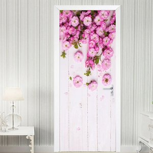 Modern Hand Painted Art Door Sticker 3D Pink Flowers Pastoral Style Mural Photo Wallpaper Living Room Wedding House PVC Stickers