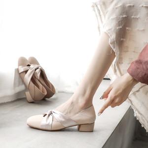 2020 Летней мода женщин обуви пологой середины пятка фея обувь женщин толстый каблук Мэри Джейн обувь 36-39