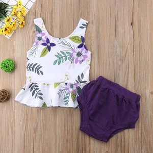 Newborn Toddler Baby Girls Summer Lovely Pretty Clothes Sets Sleeveless Floral Print Ruffles Vest Tops Solid Shorts 2PCS
