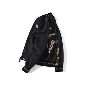 9Bape Hip Hop Mens Jacket tubarão impressão Outerwea Primavera e cor homens casuais outono blockir alta qualidade Graffiti Jacket Tamanho M-3XL