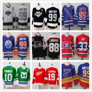Hombres 99 Wayne Gretzky 33 Patrick Roy 88 Eric Lindros 19 Steve Yzerman 10 Francis CCM héroes de Hockey Jersey auténtico cosido patche