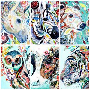 AZQSD PINTURA PINTURADA POR NÚMERO Kits de pintura de lienzos Animales DIY Unframe Acrílico Pintura Coloración por números Dibujos animados Pedido a mano Regalo