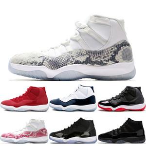Chegada Nova Alta Baixa Branco Cinza 11s Snakeskin tênis de basquete 11concord com 45 Bred cap Gamma azul Space Jam e vestido sneakers
