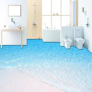 Pinturas Mar encomenda da foto 3D Wallpaper Modern Beach Water chão por Sala de Banho Auto-adesivo de papel Mural Piso