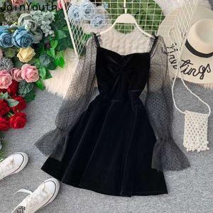 JoinYouth 2020 Autumn Pleuche Party Dress Puff Sleeve Mesh Patchwork Women Mini Dresses A-line Pleated Vintage Vestidos J164