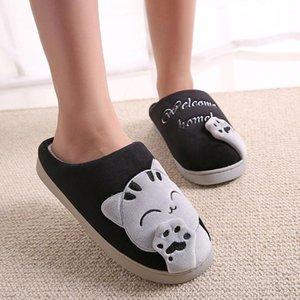 Pantoufles fourrure Furry Motif Cat hiver Pantoufles en peluche avec talon plat mâle Slipper Réchauffez hombre Indoor Chaussures Slide