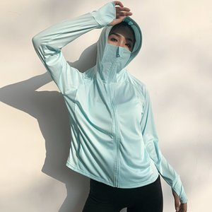 Wmuncc Breathable Sun-proof Sport Blouse Long Sleeve Hooded Gym Shirt Women Fitness Running Workout Top Zipper Jacket Thumb Hole
