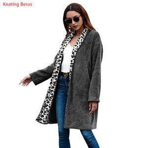 Keating Berus Осень Зима женская мода леопардовый воротник длинный чистый цвет теплый длинный рукав шерстяное пальто дамы