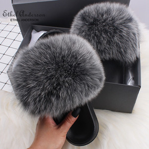 Ethel Anderson Fluffy Slippers real de pele de raposa Slides Virar interior Flops calçados casuais Mulher Raccoon Fur Sandals Vogue Plush Shoes T200106