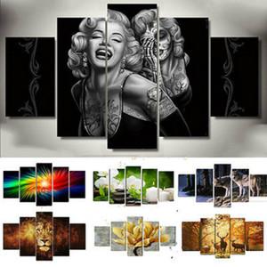 5Pcs HD Kanvas Ev Dekorasyonu Wall Art Hayvan Tasarım Resim Çerçevesiz Dekoratif Boyama Boyama yazdır