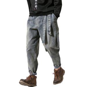2019 Spring Men Jeans Pants Man Retro Cotton Joggers Ribbon Men Casual Streetwear Denim Trousers Drop Shipping ABZ229