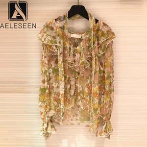 AELESEEN взлетно-посадочная полоса мода женщины блузка 2020 весна лето с длинным рукавом лук оборками цветочный принт шифон блузка топ