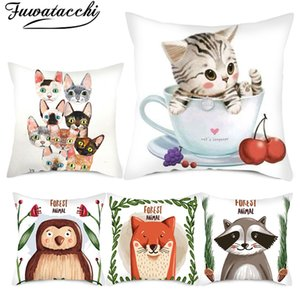 Fuwatacchi Cartoon Cute Animal Cushion Cover Cat Printed Pillow Covers for Home Chair Sofa Decorative White Pillowcases Double