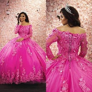 2021 Luxury Quinceanera Dresses Ball Gown Bateau Long Sleeve Sweep Train Prom Dresses With Lace 3D Applique Tulle Sweet 16 Gowns